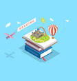 isometric flat concept of child reading vector image