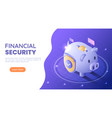 isometric web banner piggy bank full money vector image