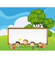 Kids playing in front of the big empty signboard vector image vector image
