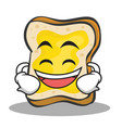 laughing face bread character cartoon vector image vector image