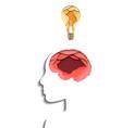 layered human profile brain and light bulb cut vector image