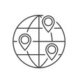 location on globe outline icon vector image vector image
