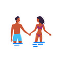 man and woman in love that hold hands in water vector image
