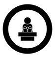 man speaking from the rostrum icon black color in vector image vector image