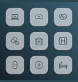 medicine icons line style set with nurse cap sign vector image vector image