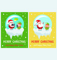 merry christmas and happy new year two posters vector image vector image