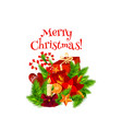 merry christmas wish wreath gifts icon vector image vector image