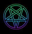 mystical bright neon pentagram on black background vector image