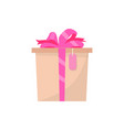 pink gift box side view present in wrapping vector image vector image