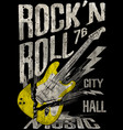 rockn roll poster guitar graphic design tee art vector image vector image