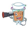 sailor with binocular bubble tea mascot cartoon vector image vector image