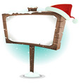 santa claus hat on wood sign vector image vector image