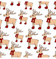 seamless hand drawn pattern with new year deer vector image vector image