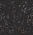seamless pattern female faces drawn vector image