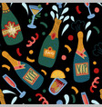 seamless pattern with bottles champagne and vector image