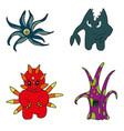 set cartoon monsters vector image