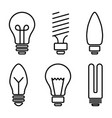 set light bulb icons different lamp line art vector image
