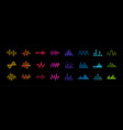 set music equalizer icons sound waves lines vector image