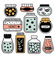 set of colorful doodle jars vector image vector image