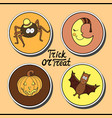 set of halloween characters spider in hat smiling vector image vector image