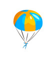 skydiver descending with a parachute in the sky vector image vector image