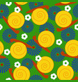 snail with flowers pattern vector image