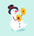 snowman with drum cymbal musical instrument icon vector image