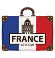 suitcase in colors of french flag vector image vector image