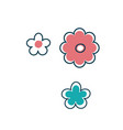 three isolated stylized flowers vector image vector image