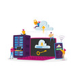 tiny characters at huge laptop phone and server vector image