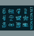 tourism set icons blue glowing neon style vector image