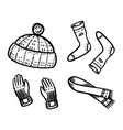 warm clothes in a doodle vintage style winter hat vector image