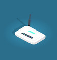 white realisti wireless wi-fi router with antenna vector image