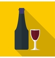 Wine and glass icon flat style vector image vector image