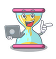 with laptop character hourglass concept for vector image