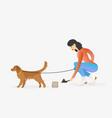 woman cleaning after golden retriever dog vector image