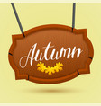 wooden frame for design with gold autumn leaf and vector image vector image