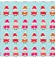 Happy New Year Funny gnomes in red hats seamless vector image