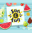 sun and fun card on blue wooden background vector image