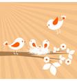 birds family spring card vector image