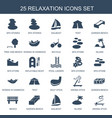 25 relaxation icons vector image vector image