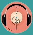 Black headphones vintage vinyl disc clef Retro vector image vector image