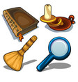candlestick book magnifying glass and droom vector image vector image