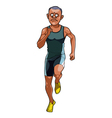 cartoon man in sportswear running front view vector image vector image