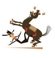 cartoon rider falls from horse vector image vector image