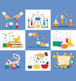 chemistry reaction banner set flat style vector image vector image