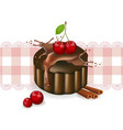 cherry cake on a vintage pattern delicious vector image vector image