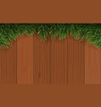 christmas with fir branch border frame on top of vector image vector image