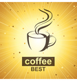 coffee icon on golden background vector image vector image