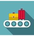 conveyor belt with baggage icon flat style